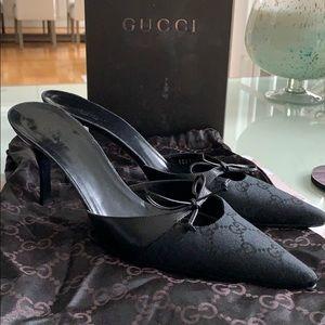 Beautiful Gucci 75mm Black GG Mule shoe